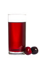 Glass with cherry juice isolated on white Royalty Free Stock Images