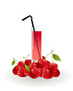 Glass of cherry juice on a white background Stock Images
