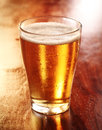 Glass of chilled golden lager or beer glowing backlit standing on a wooden counter in a tavern pub bar Stock Photo