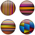 Glass Circle Button Colorful Stripes Stock Photo