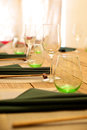 Glass close up some clean tableware on the table Royalty Free Stock Photography