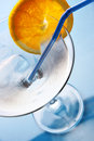 Glass of cocktail with ice and orange slice Royalty Free Stock Photo