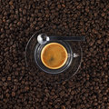 Glass coffee cup with fresh made espresso Royalty Free Stock Photo