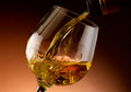 Glass of cognac set in cellar Royalty Free Stock Photography