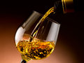 Glass of cognac set in cellar Royalty Free Stock Photos