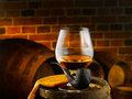 Glass of cognac set in cellar Royalty Free Stock Image