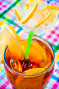 Glass of cola with ice and lime Stock Images