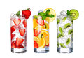 Glass Of Cold fruit Drinks collection  isolated on white Royalty Free Stock Photo
