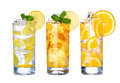 Glass Of Cold ice tea and lemonade Drink collection  i Royalty Free Stock Photo