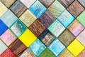 Glass colorful tiles mosaic diagonal pattern background