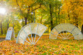 Glass composition Fans of the Empress in the autumn park of Michael Garden in St Petersburg, Russia