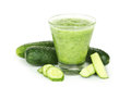 Glass of cucumber juice isolated on a white Royalty Free Stock Photo