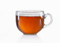 Glass cup of black tea on white background Royalty Free Stock Photo