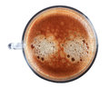 Glass cup of espresso coffee top view close-up photography. Royalty Free Stock Photo
