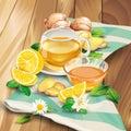 Ginger tea vector composition on wooden background