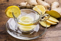 A glass cup of ginger tea Royalty Free Stock Photo