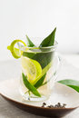 Glass cup of green tea Royalty Free Stock Photo