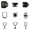 Glass Or Cup Icons Freehand Fill
