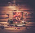 Glass cup with tea flower Royalty Free Stock Photo