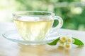 Glass cup of tea with jasmine