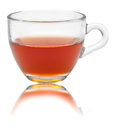 Glass cup of tea with own reflection on isolated white backgroun Royalty Free Stock Photo