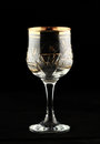 Glass on dark empty wine background Stock Photos