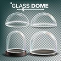 Glass Dome Set Vector. Advertising, Presentation Design Glass Element. Different Types. Empty Glass Crystal Dome