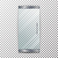 Glass Door Transparent Vector. Architectural interior symbol With Soft Shadow In Front Isolated On Checkered Background Royalty Free Stock Photo