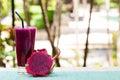 Glass of dragon fruit smoothie, juice and fresh pitahaya Royalty Free Stock Photo