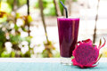 Glass of dragon fruit smoothie, juice and fresh pitahaya Royalty Free Stock Photo