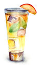 Glass drink ice cubes watercolor illustration Stock Images
