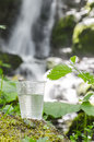 Glass of drinking water selective focus shallow dept of field near the foliage blurred waterfall Royalty Free Stock Photo