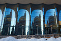 The glass facade of curved blue glass Royalty Free Stock Photo