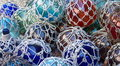 Glass Fishing Floats with Netting Royalty Free Stock Images