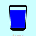 Glass with fluid it is color icon .