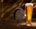 Glass of foamy beer on a table in a beer cellar Stock Photography