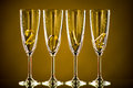 Glass four goblet for champagne with numeral beautiful celebrations new year concept photo Stock Photos