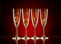 Glass four goblet for champagne with numeral beautiful celebrations new year concept photo Stock Photography