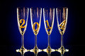 Glass four goblet for champagne with numeral beautiful celebrations new year concept photo Stock Image