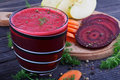 Glass of fresh beetroot, apple and carrot juice Royalty Free Stock Photo