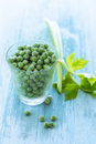 Glass of fresh peas full green alongside a stick celery on a rustic wooden surface waiting to be cooked for dinner high angle Royalty Free Stock Image