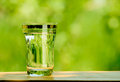 Glass full of water against the green nature background on wooden table space for text Royalty Free Stock Images
