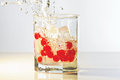 Glass of gin, ice and red cranberries with splash Royalty Free Stock Photo