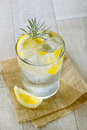 Glass of gin and tonic with ice and lemon Royalty Free Stock Image