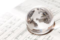 Glass globe business global market with north america and papers Stock Photo