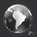 Glass globe icon on metal background vector illustration this is file of eps format Royalty Free Stock Image
