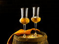 Glass of grappa glasses set in a cellar with barrels reserves Stock Images