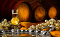 Glass of grappa glasses set in a cellar with barrels reserves Royalty Free Stock Photos