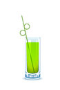 Glass with green beverage and drinking straw Royalty Free Stock Photography