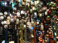 A glass handmade lantern shop in the famous gran bazaar of istanbul exposition of different colours and fantasies Stock Photo
